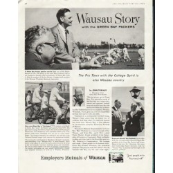 "1958 Employers Mutuals of Wausau Ad ""Green Bay Packers"""