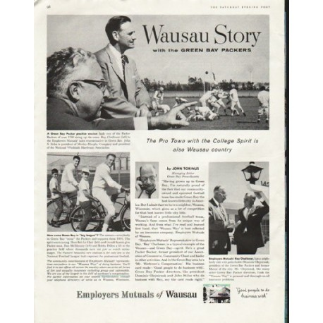"""1958 Employers Mutuals of Wausau Ad """"Green Bay Packers"""""""