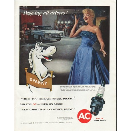 """1958 AC Spark Plug Ad """"Page-ing all drivers"""""""