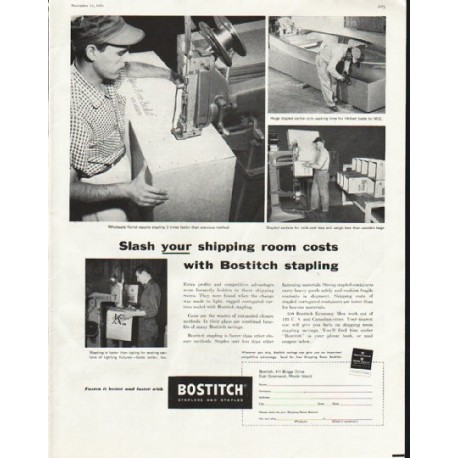 "1958 Bostitch Ad ""shipping room costs"""