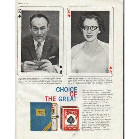 """1958 Bicycle Playing Cards Ad """"Choice"""""""