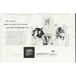 """1958 Lowrey Organ Ad """"says so much"""""""