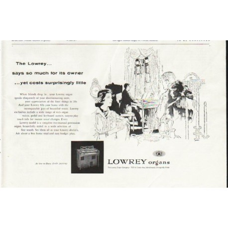 "1958 Lowrey Organ Ad ""says so much"""