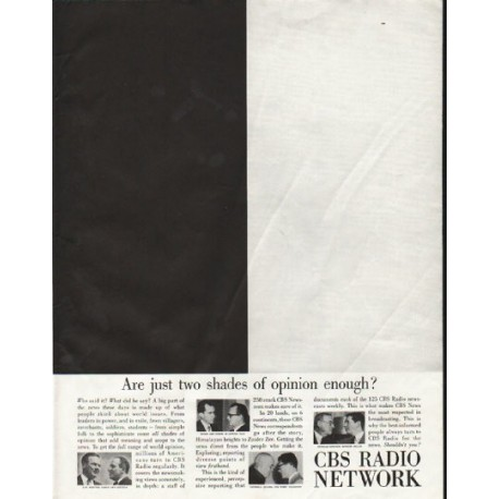 """1958 CBS Radio Network Ad """"two shades of opinion"""""""