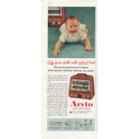 "1958 Arvin Heater Ad ""Safe from chills"""
