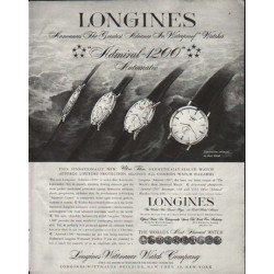 "1958 Longines-Wittnauer Watch Ad ""Waterproof"""