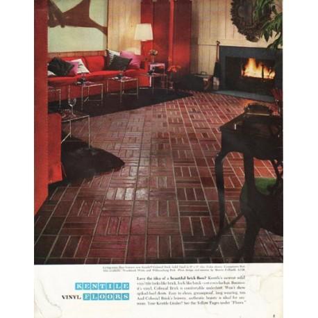 "1965 Kentile Floors Ad ""beautiful brick floor"""