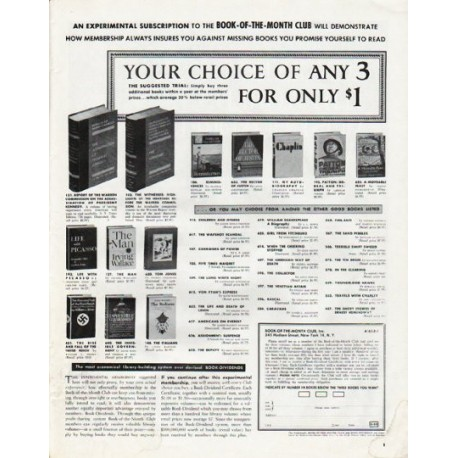 "1965 Book-Of-The-Month Club Ad ""Your choice of any 3"""