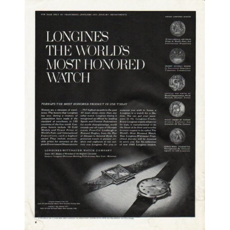 "1965 Longines-Wittnauer Watch Ad ""most honored product"""