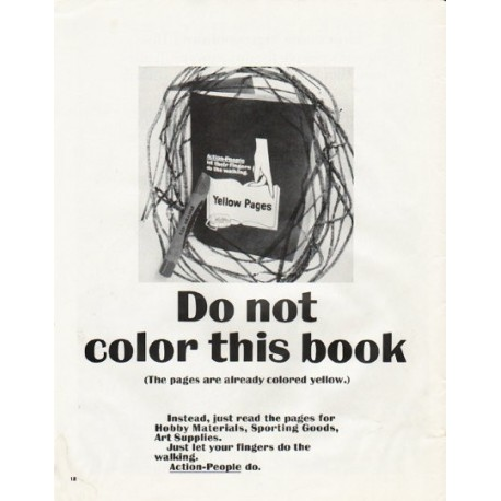 """1965 Yellow Pages Ad """"Do not color"""""""
