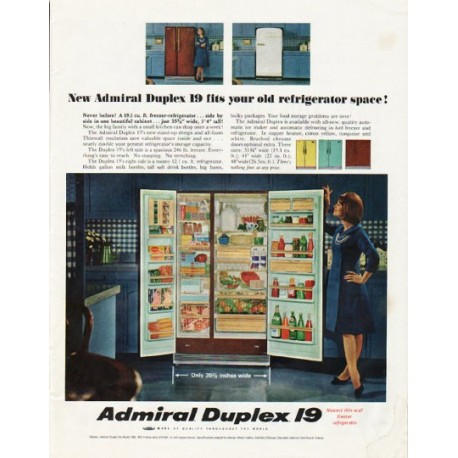 "1965 Admiral Refrigerator Ad ""old refrigerator space"""