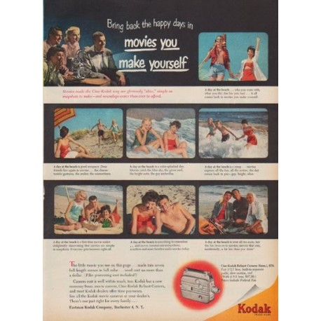 "1950 Kodak Ad ""Bring back the happy days in movies you make yourself"""