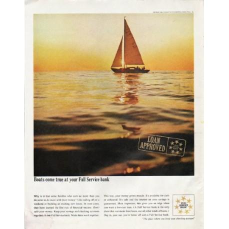 """1965 Full Service Bank Ad """"Boats come true"""""""