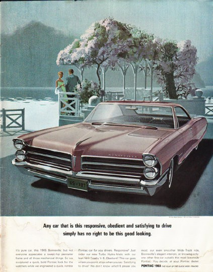 1965 Pontiac Bonneville Vintage Ad Quot Good Looking Quot Model