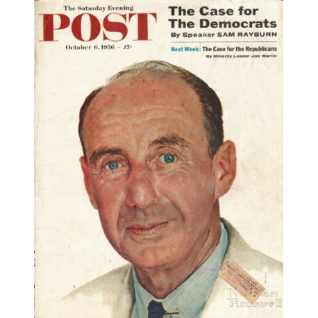 """1956 Saturday Evening Post Cover Page """"Adlai Stevenson"""" ~ October 6, 1956"""