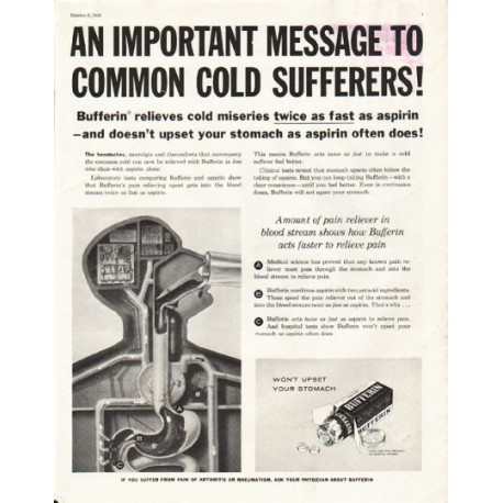 """1956 Bufferin Ad """"An important message"""""""