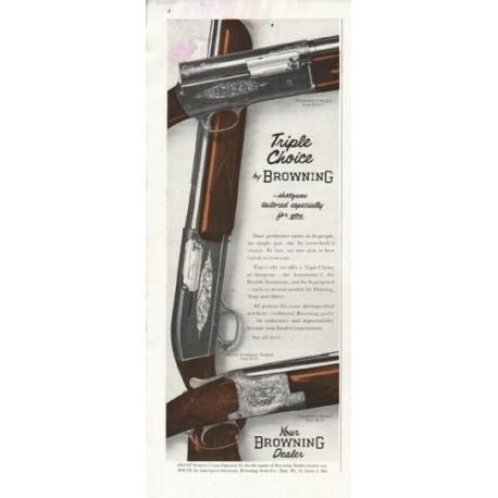 "1956 Browning Shotgun Ad ""Triple Choice"""