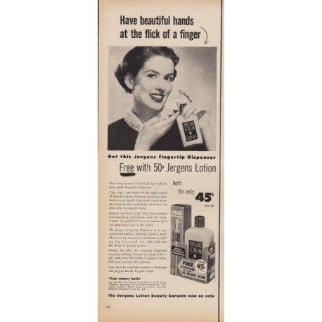 "1950 Jergens Ad ""Have beautiful hands at the flick of a finger"""