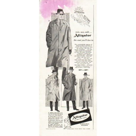 "1956 Alligator Coats Ad ""rain, sun, cold"""