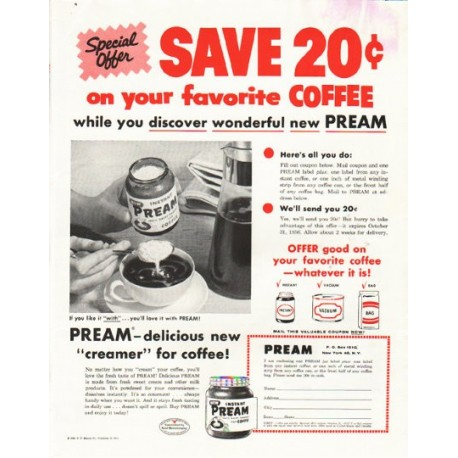 """1956 Pream Ad """"Special Offer"""""""