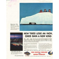 "1956 Goodyear Tires Ad ""New tires lose an inch"""