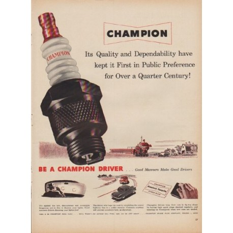"1950 Champion Ad ""Quality and Dependability"""