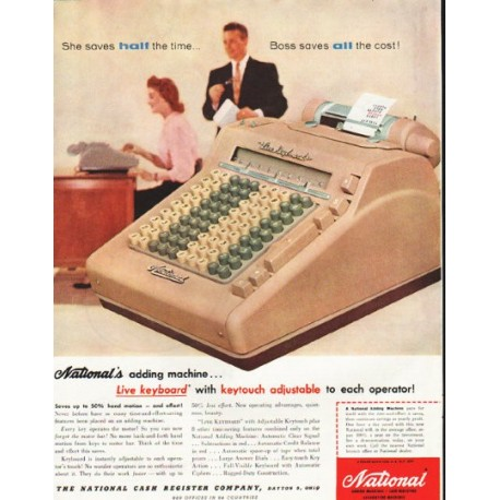 "1956 National Cash Register Ad ""half the time"""