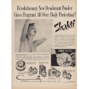 "1950 Shakti Ad ""New Deodorant Powder Gives Fragrant All-Over Body Protection!"""