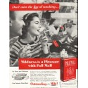 "1956 Pall Mall Cigarettes Ad ""Don't miss the fun"""