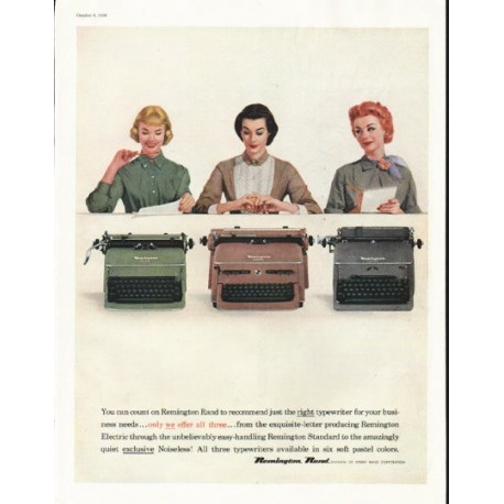 """1956 Remington Rand Ad """"You can count on Remington Rand"""""""