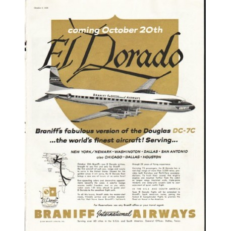 "1956 Braniff Airways Ad ""El Dorado"""