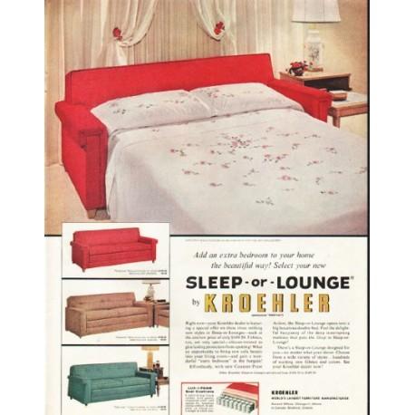 """1956 Kroehler Ad """"Sleep-or-Lounge"""""""