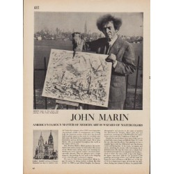 "1950 John Marin article w/ artwork ""Wizard of Watercolors"""
