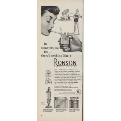 "1950 Ronson Ad ""in summertime, too ... there's nothing like a Ronson"""
