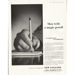 "1956 New England Life Ad ""magic pencil"""