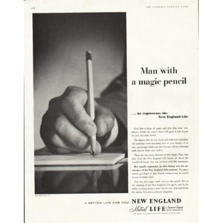 """1956 New England Life Ad """"magic pencil"""""""