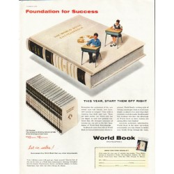 "1956 World Book Encyclopedia Ad ""Foundation for Success"""