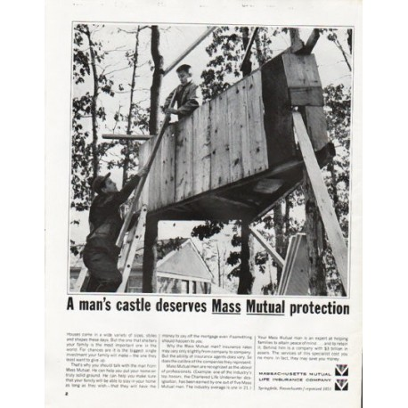 "1965 Massachusetts Mutual Life Insurance Ad ""man's castle"""