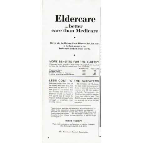"1965 American Medical Association Ad ""Eldercare"""