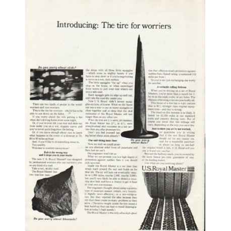 "1965 U.S. Royal Master Tire Ad ""worriers"""