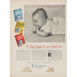 "1950 Gerber's Baby Foods Ad ""The Big Three for your Small One"""