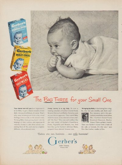 1950 Gerber S Baby Foods Ad Quot The Big Three For Your Small One Quot