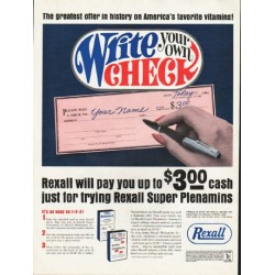 "1965 Rexall Ad ""Write your own Check"""