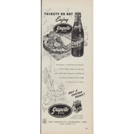 "1950 Grapette Soda Ad ""Thirsty Or Not Enjoy Grapette Soda"""