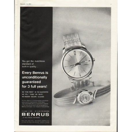 "1961 Benrus Watch Ad ""matchless standard"""