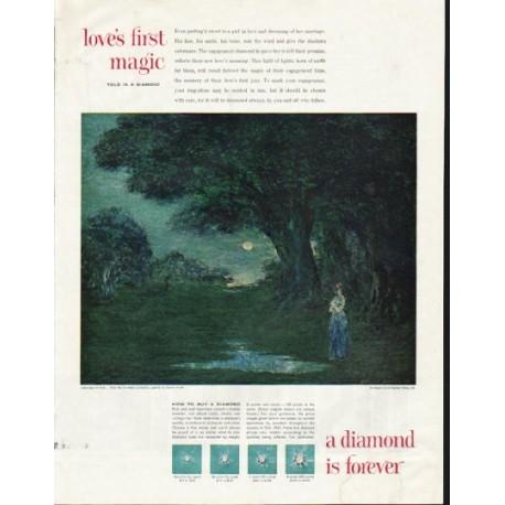 "1961 De Beers Diamond Ad ""love's first magic"""