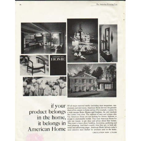 "1961 American Home Magazine Ad ""it belongs"""