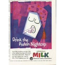 "1961 American Dairy Association Ad ""Protein Nightcap"""