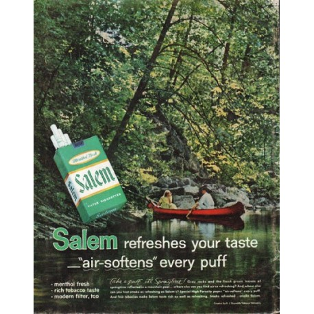 "1961 Salem Cigarettes Ad ""air-softens"""
