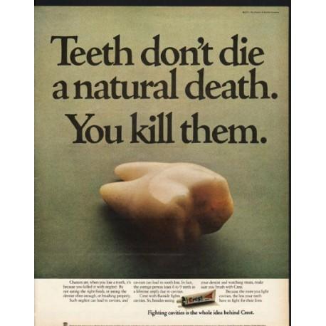 "1972 Crest Toothpaste Ad ""Teeth don't die"""